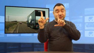 Ciężarówka z ekranem z tyłu – bezpieczna